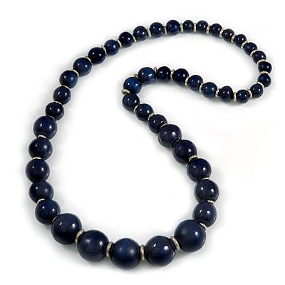 Dark Blue Graduated Wooden Bead Necklace - 70cm Long