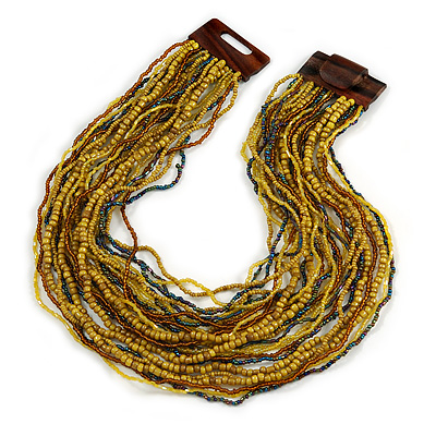 Dusty Yellow/ Peacock/ Bronze Glass Bead Multistrand, Layered Necklace With Wooden Square Closure - 60cm L