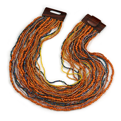 Dusty Orange/ Peacock/ Yellow Glass Bead Multistrand, Layered Necklace With Wooden Square Closure - 60cm L - main view