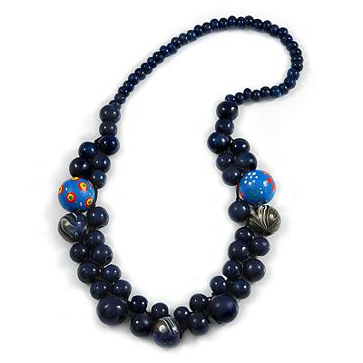 Dark Blue Cluster Wood Bead Necklace - 60cm Long