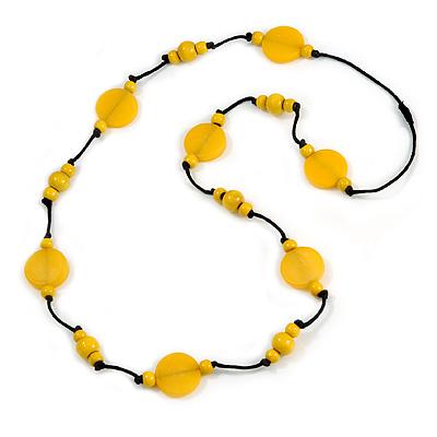 Banana Yellow  Wood and Resin Bead Black Cord Necklace - 100cm Long
