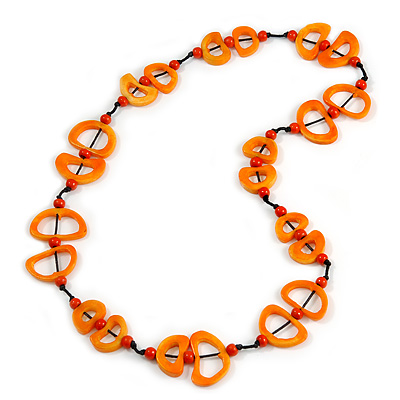 Carrot Orange Bone, Wood Beaded Black Cotton Cord Long Necklace - 88cm L - main view