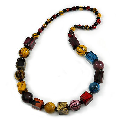 Multicoloured Cube and Ball Wood Bead Necklace - 76cm Long - main view
