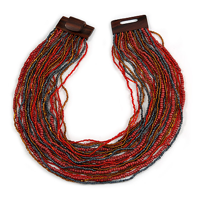Ox Blood/ Peacock/ Bronze Glass Bead Multistrand, Layered Necklace With Wooden Square Closure - 60cm L