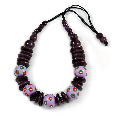Purple/ Lavender Ball and Button Wood Bead Black Cotton Cord Necklace - 66cm Long