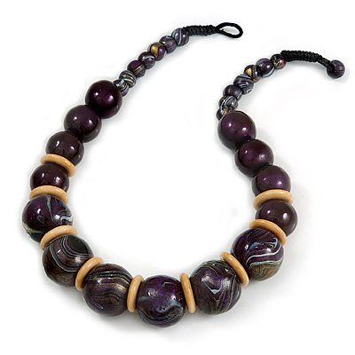 Chunky Colour Fusion Wood Bead Necklace (Purple/ Natural) - 48cm L