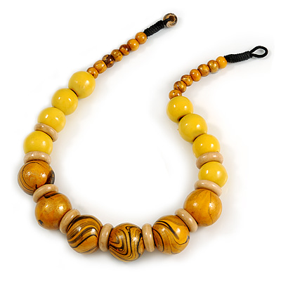 Chunky Colour Fusion Wood Bead Necklace (Yellow, Black, Natural) - 48cm L