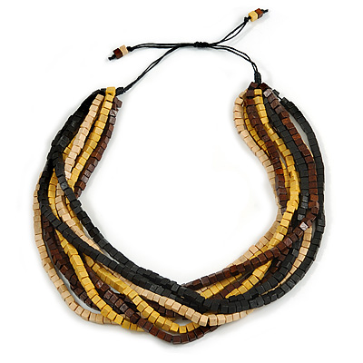 Multi-Strand Black/ Yellow/ Natural/ Brown Wood Bead Adjustable Cord Necklace - 66cm L