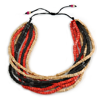 Multi-Strand Black/ Red/ Natural Wood Bead Adjustable Cord Necklace - 66cm L