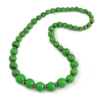 Grass Green Graduated Wooden Bead Necklace - 70cm Long