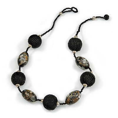 Black/ Grey Glass, Resin Bead Chunky Necklace - 50cm Long