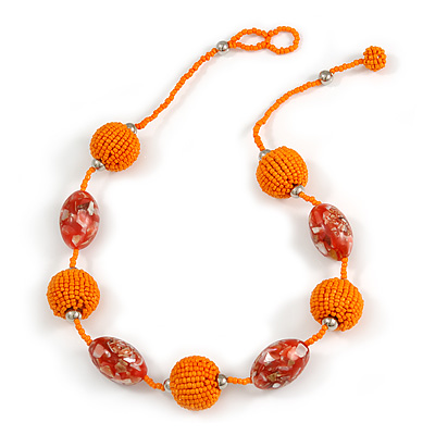 Orange Glass, Resin Bead Chunky Necklace - 50cm Long
