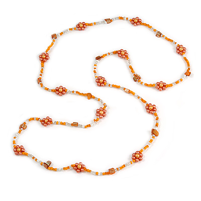 Long Orange/ Peach/ Transparent Glass Bead Shell Nugget Floral Necklace - 132cm Length