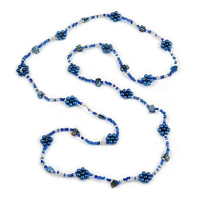 Long Blue/ Transparent Coloured Glass Bead Shell Nugget Floral Necklace - 132cm Length