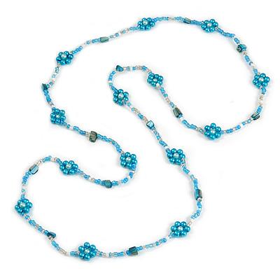 Long Light Blue/ White/ Transparent Glass Bead Shell Nugget Floral Necklace - 132cm Length