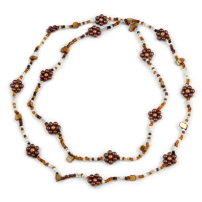 Long Brown/ White/ Bronze Coloured Glass Bead Sea Shell Floral Necklace - 132cm Length