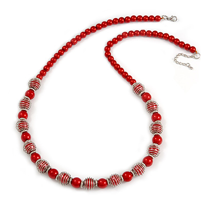 Red Glass Bead with Silver Tone Metal Wire Element Necklace - 70cm L/ 5cm Ext - main view