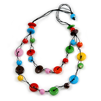 2 Strand Multicoloured Round and Button Shape Wood Bead Black Cord Necklace - 80cm Long