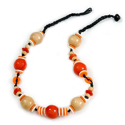 Orange/ Natural/ White Wood Bead Black Cord Necklace - 50cm Long