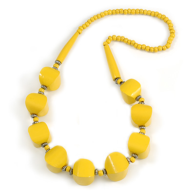 Chunky Bright Yellow Wood Bead Necklace - 68cm L