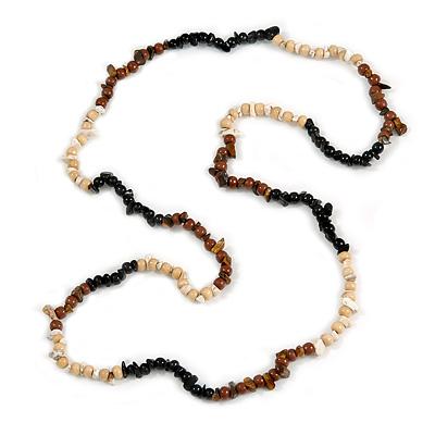 Black/ Natural/ Brown Wood and Semiprecious Stone Long Necklace - 96cm Long