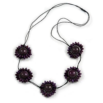 Deep Purple Wood Bead Floral Necklace with Black Cotton Cords - 70cm Long