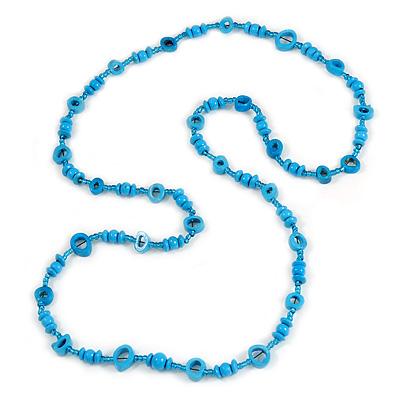 Long Light Blue Wood, Glass, Bone Beaded Necklace - 116cm L