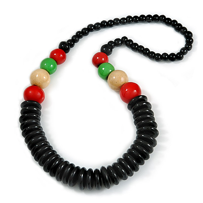 Chunky Ball and Button Wood Bead Necklace in Black/ Red/ Natural/ Green - 70cm Long