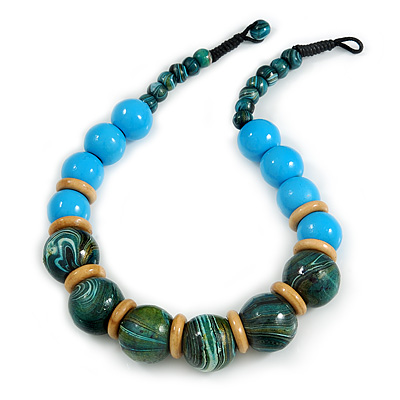 Chunky Colour Fusion Wood Bead Necklace (Light Blue/ Teal/ Natural) - 48cm L - main view