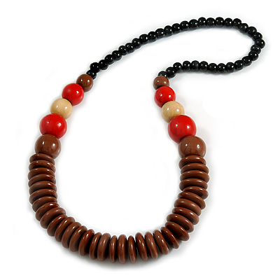 Chunky Ball and Button Wood Bead Necklace in Brown/ Red/ Natural/ Black - 70cm Long