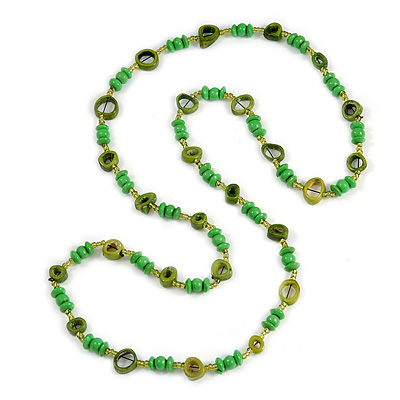 Long Green/ Olive Wood, Glass, Bone Beaded Necklace - 116cm L