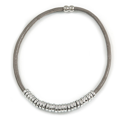 Mouse Grey Leather with Polished Silver Tone Metal Rings Magnetic Necklace - 43cm L