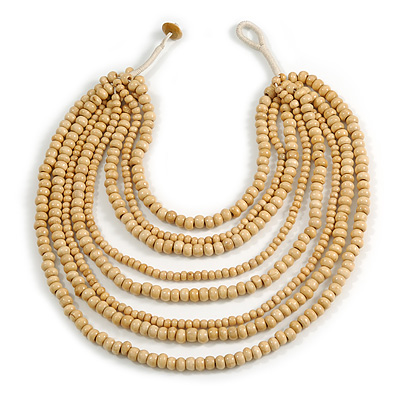 Multistrand Layered Bib Style Wood Bead Necklace In Natural - 40cm Shortest/ 70cm Longest Strand