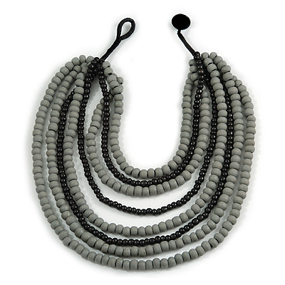 Multistrand Layered Bib Style Wood Bead Necklace In Black/ Grey - 40cm Shortest/ 70cm Longest Strand