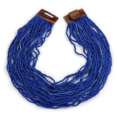 Statement Multistrand Cobalt Blue Glass Bead Necklace with Wood Closure - 60cm Long