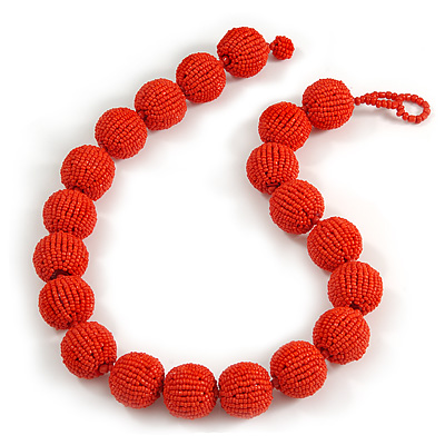Chunky Carrot Red Glass Bead Ball Necklace - 54cm Long