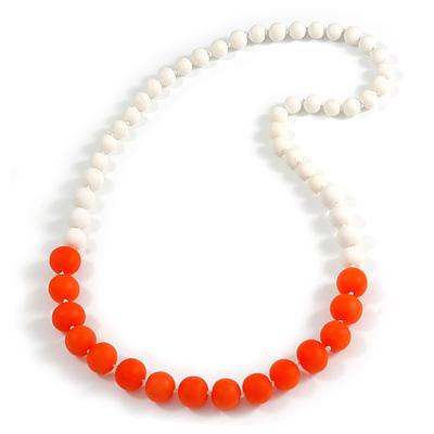 Long Graduated Pastel Orange/ White Resin Bead Necklace - 78cm L
