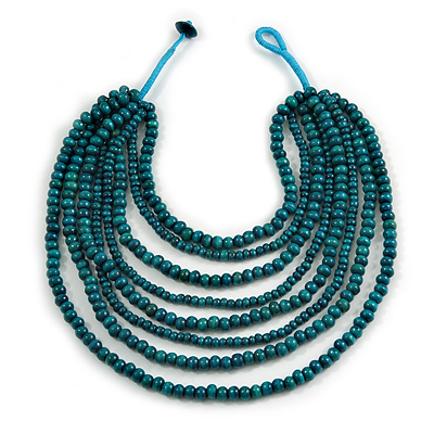 Multistrand Layered Bib Style Wood Bead Necklace In Teal Green - 40cm Shortest/ 70cm Longest Strand