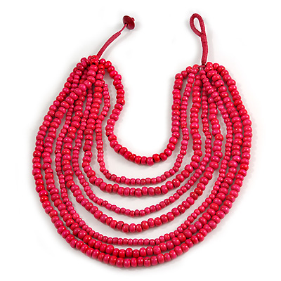 Multistrand Layered Bib Style Wood Bead Necklace In Deep Pink - 40cm Shortest/ 70cm Longest Strand