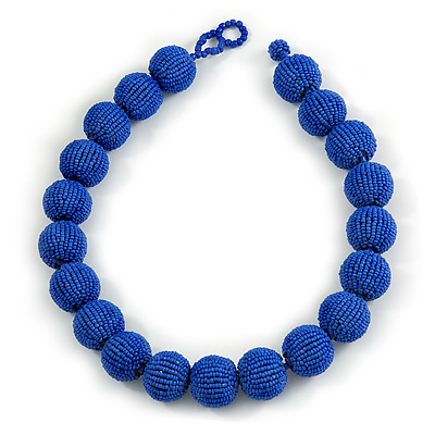Chunky Royal Blue Glass Bead Ball Necklace - 54cm Long