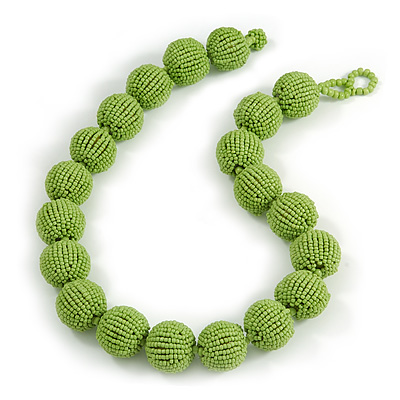 Chunky Lime Green Glass Bead Ball Necklace - 54cm Long