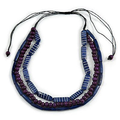 3 Strand Layered Wood Bead Cord Necklace In Blue/ Purple - 44cm up to 56cm Adjustable