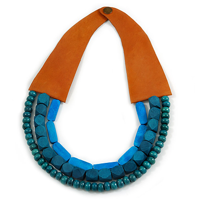 Handmade Multistrand Wood Bead and Leather Bib Style Necklace in Teal/ Blue - 64cm Long
