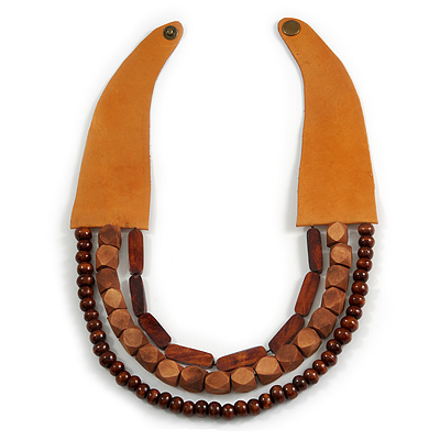 Handmade Multistrand Wood Bead and Leather Bib Style Necklace in Brown - 64cm Long - main view