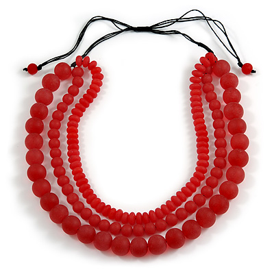 Chunky 3 Strand Layered Resin Bead Cord Necklace In Red - 60cm up to 70cm Adjustable