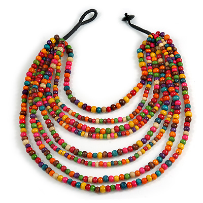 Multicoloured Multistrand Layered Bib Style Wood Bead Necklace - 40cm Shortest/ 70cm Longest Strand