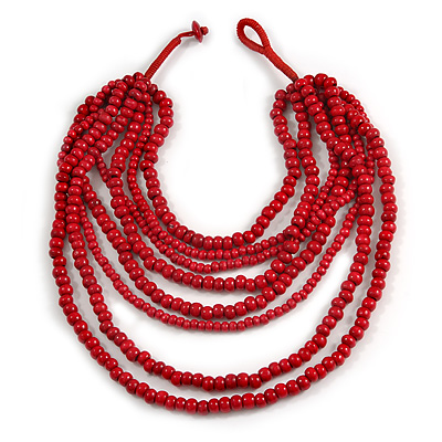 Multistrand Layered Bib Style Wood Bead Necklace In Red - 40cm Shortest/ 70cm Longest Strand