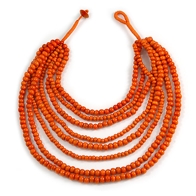 Multistrand Layered Bib Style Wood Bead Necklace In Orange - 40cm Shortest/ 70cm Longest Strand