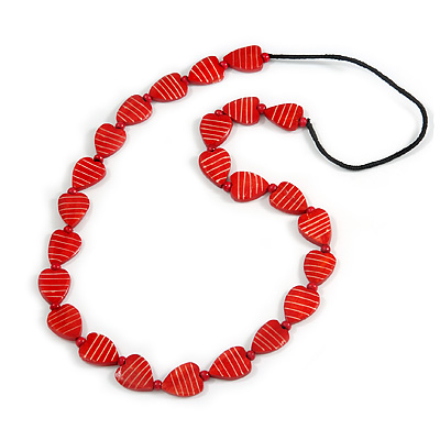 Long Red Wood Heart Bead Black Cord Necklace - 86cm Long - main view