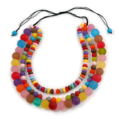 Chunky 3 Strand Layered Resin Bead Cord Necklace In Multi - 60cm up to 70cm Adjustable